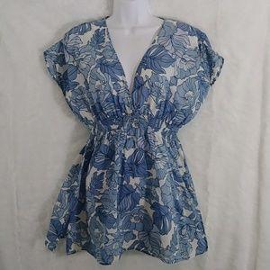 Blue Leaf Print Tunic